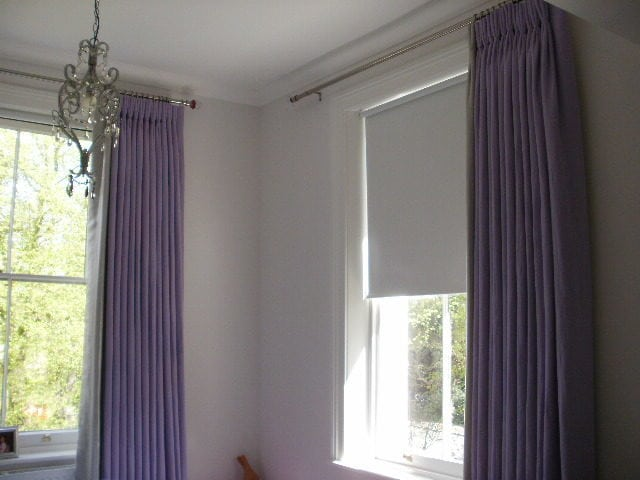 Purple Pinch Pleat with Silver Leading Edge