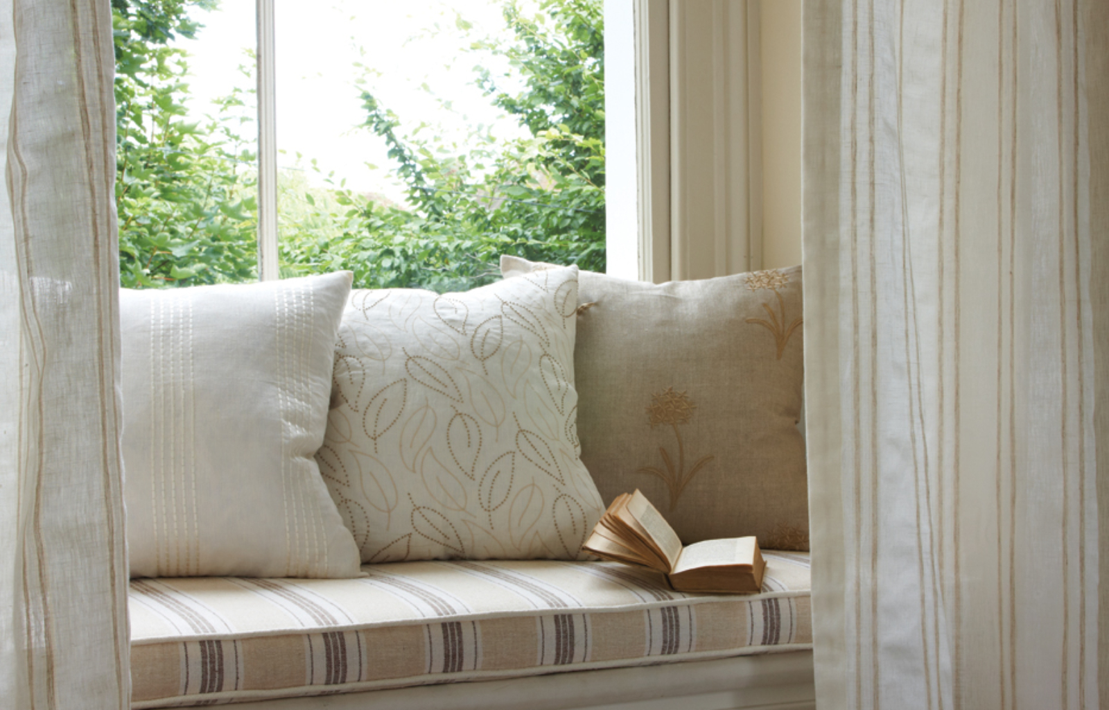 Natural James Hare Cushions Voiles fabrics neutral