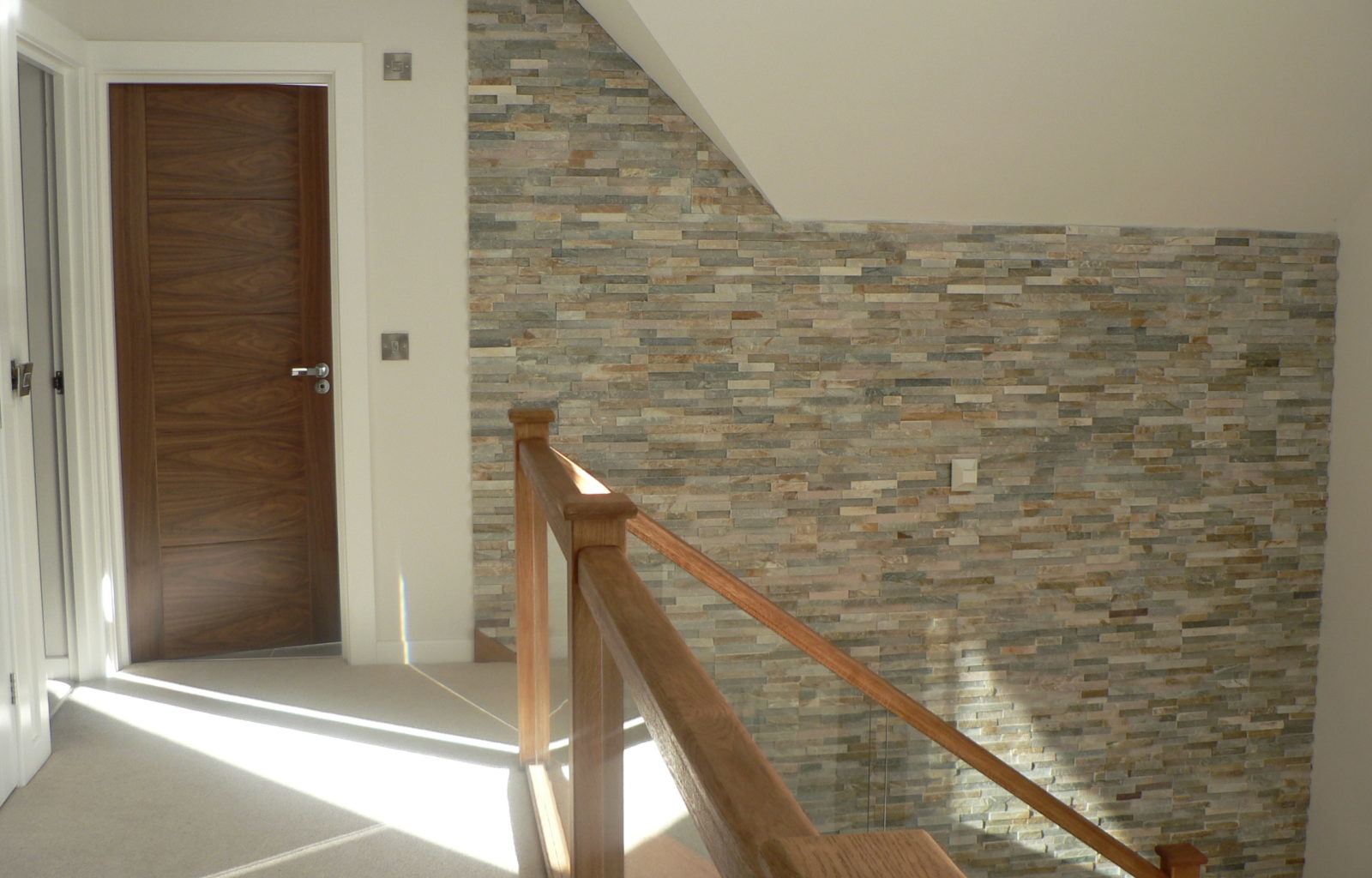 stairs hall slate wall feature