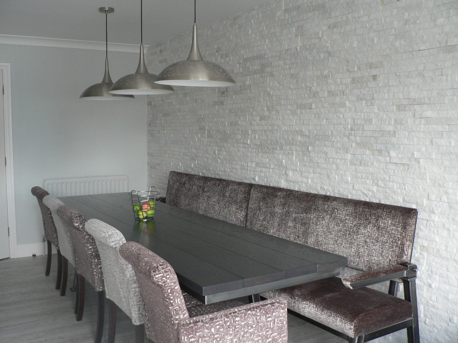 Kitchen, open plan living, industrial, elegant, dining, soft furnishings, bench, steel and wood table, franklite pendant lights, texture, wall tiles,
