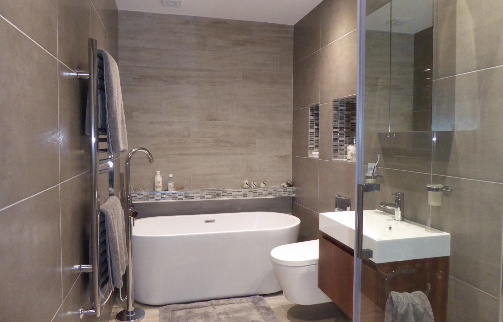 Ensuite, walnut, luxury, mocha tiles