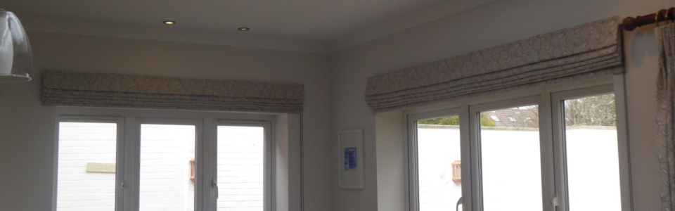 Roman Blinds, modern kitchen, traditional styling