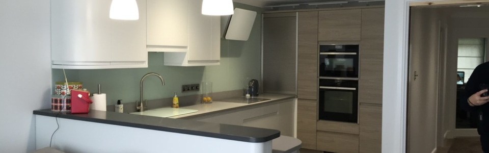 Open Plan, Kitchen, Glass, Wood, White matt,